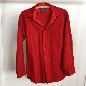 PENDLETON Solid Red 100% Wool Men's Shirt Sz M